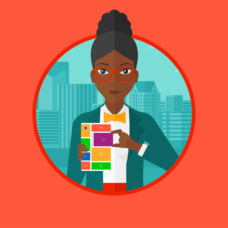 repurpose: An african-american woman holding modular phone. Woman with modular phone standing on a city background. Woman using modular phone. Vector flat design illustration in the circle isolated on background