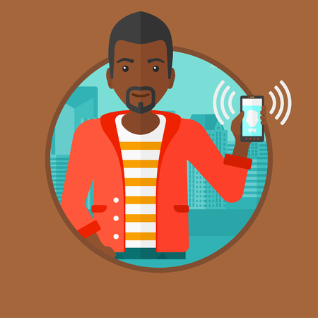answering: African-american man holding ringing mobile phone on a city background. Man answering a phone call. Man with ringing phone in hand. Vector flat design illustration in the circle isolated on background
