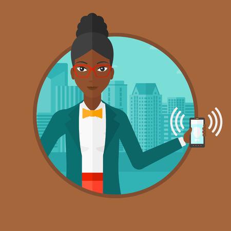 都市の背景に鳴っている携帯電話を保持しているアフリカ系アメリカ人の女性。若い笑顔の女性は、電話の呼び出しに応答します。ベクター背景に
