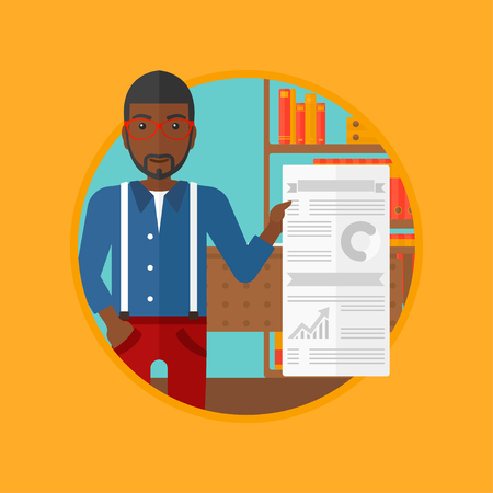 An african-american man showing business presentation with some text and charts. Man giving a business presentation in the office. Vector flat design illustration in the circle isolated on background.
