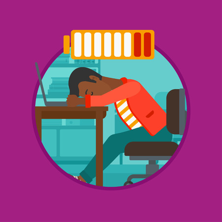 An african-american man sleeping at workplace on laptop keyboard and low power battery sign over his head. Man sleeping in office. Vector flat design illustration in the circle isolated on background. Illustration
