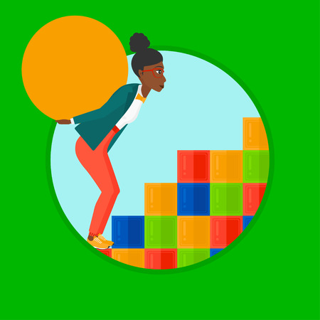 uphill: An african tired woman rising up on the colored cubes and carrying a big stone on her back. Woman with huge concrete ball going up. Vector flat design illustration in the circle isolated on background