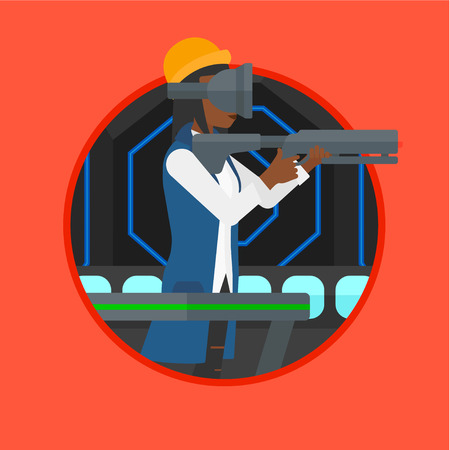 An african-american woman wearing virtual reality headset. Woman playing video game while standing on a treadmill with a gun in hands. Vector flat design illustration in the circle isolated on background.