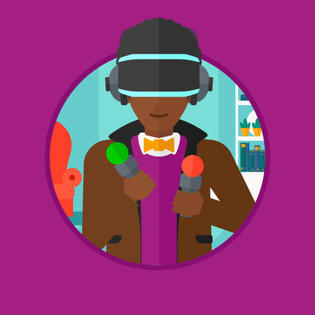move controller: An african-american man wearing virtual reality headset and holding motion controllers in hands. Man playing video games at home. Vector flat design illustration in the circle isolated on background.