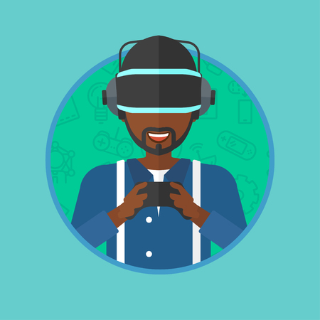 game controller: An african-american cheerful man wearing a virtual reality headset. Young man playing video game with game controller in hands. Vector flat design illustration in the circle isolated on background.