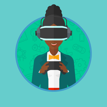 headset woman: An african-american woman wearing a virtual reality headset. Woman playing video games with a wireless game controller in hands. Vector flat design illustration in the circle isolated on background. Illustration