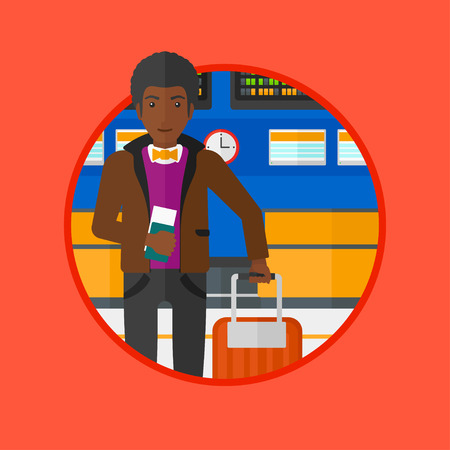 departure board: An african-american man holding a passport with ticket at the airport. Man standing at the airport in front of the departure board. Vector flat design illustration in the circle isolated on background