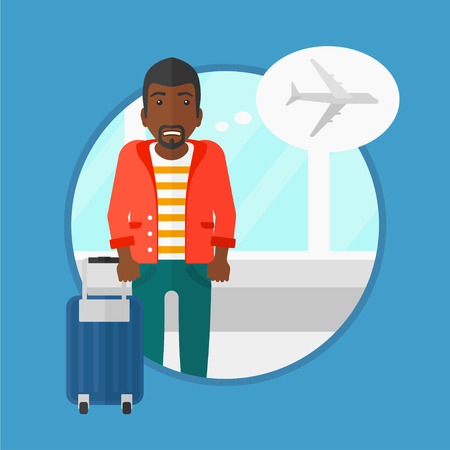 phobia: An african-american man frightened by future flight. Young man suffering from fear of flying. Phobia, fear of flying concept. Vector flat design illustration in the circle isolated on background.