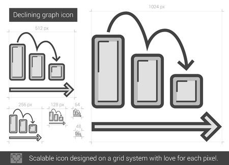 descending: Declining graph vector line icon isolated on white background. Declining graph line icon for infographic, website or app. Scalable icon designed on a grid system.