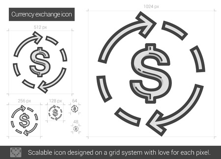refresh rate: Currency exchange vector line icon isolated on white background. Currency exchange line icon for infographic, website or app. Scalable icon designed on a grid system.
