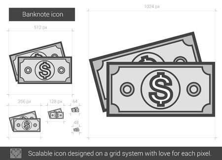 banknote: Banknote vector line icon isolated on white background. Banknote line icon for infographic, website or app. Scalable icon designed on a grid system.