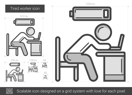 Tired worker vector line icon isolated on white background. Tired worker line icon for infographic, website or app. Scalable icon designed on a grid system. Ilustração