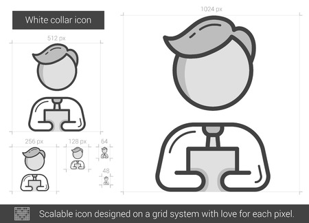 white collar: White collar vector line icon isolated on white background. White collar line icon for infographic, website or app. Scalable icon designed on a grid system.