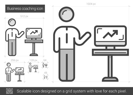 scalable: Business coaching vector line icon isolated on white background. Business coaching line icon for infographic, website or app. Scalable icon designed on a grid system. Illustration