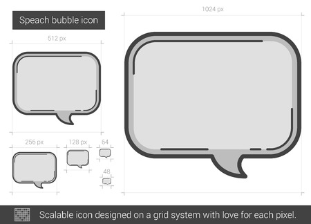 speach: Speach bubble vector line icon isolated on white background. Speach bubble line icon for infographic, website or app. Scalable icon designed on a grid system. Illustration