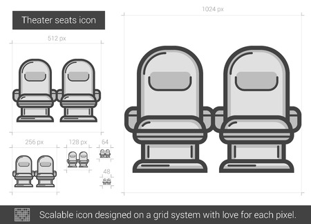 theater seats: Theater seats vector line icon isolated on white background. Theater seats line icon for infographic, website or app. Scalable icon designed on a grid system.