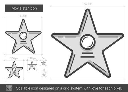 Movie star vector line icon isolated on white background. Movie star line icon for infographic, website or app. Scalable icon designed on a grid system. Illustration