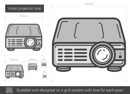 Videoprojector vector lijn pictogram op een witte achtergrond. Videoprojector lijn pictogram van infographic, website of app. Schaalbaar pictogram ontworpen op een grid-systeem. Stock Illustratie