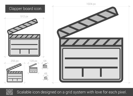 flick: Clapper board vector line icon isolated on white background. Clapper board line icon for infographic, website or app. Scalable icon designed on a grid system.