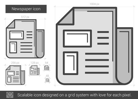 scalable: Newspaper vector line icon isolated on white background. Newspaper line icon for infographic, website or app. Scalable icon designed on a grid system. Illustration