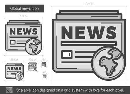newsprint: Global news vector line icon isolated on white background. Global news line icon for infographic, website or app. Scalable icon designed on a grid system.