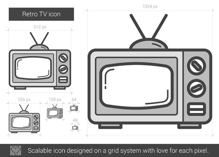 electric grid: Retro TV vector line icon isolated on white background. Retro TV line icon for infographic, website or app. Scalable icon designed on a grid system.