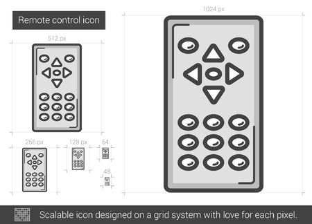 scalable: Remote control vector line icon isolated on white background. Remote control line icon for infographic, website or app. Scalable icon designed on a grid system.