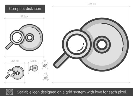 Compact disk vector line icon isolated on white background. Compact disk line icon for infographic, website or app. Scalable icon designed on a grid system. Illustration