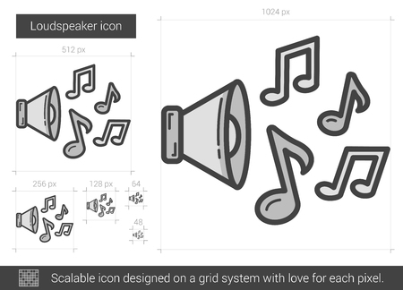 Loudspeaker vector line icon isolated on white background. Loudspeaker line icon for infographic, website or app. Scalable icon designed on a grid system.