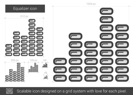 Equalizer vector line icon isolated on white background. Equalizer line icon for infographic, website or app. Scalable icon designed on a grid system. Ilustrace