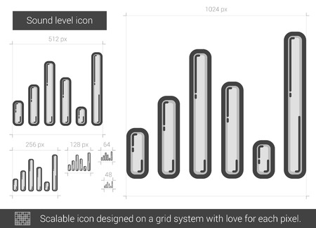 soundtrack: Sound level vector line icon isolated on white background. Sound level line icon for infographic, website or app. Scalable icon designed on a grid system. Illustration