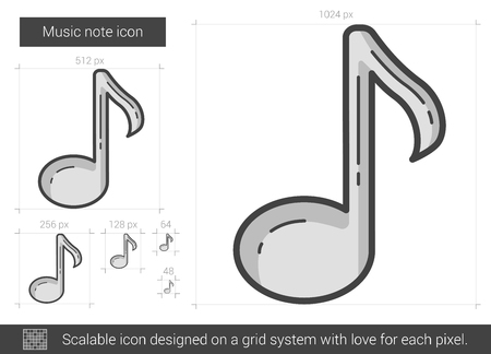 crotchets: Music note vector line icon isolated on white background. Music note line icon for infographic, website or app. Scalable icon designed on a grid system.