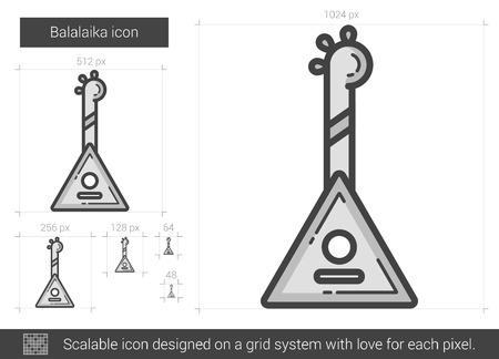 scalable: Balalaika vector line icon isolated on white background. Balalaika line icon for infographic, website or app. Scalable icon designed on a grid system. Illustration