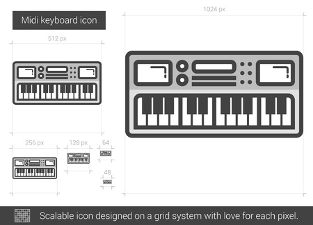 midi: Midi keyboard vector line icon isolated on white background. Midi keyboard line icon for infographic, website or app. Scalable icon designed on a grid system. Illustration