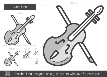 scalable: Viola vector line icon isolated on white background. Viola line icon for infographic, website or app. Scalable icon designed on a grid system.