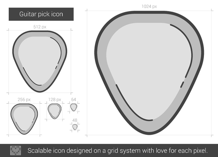 guitar pick: Guitar pick vector line icon isolated on white background. Guitar pick line icon for infographic, website or app. Scalable icon designed on a grid system.