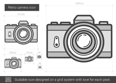 scalable: Retro camera vector line icon isolated on white background. Retro camera line icon for infographic, website or app. Scalable icon designed on a grid system.