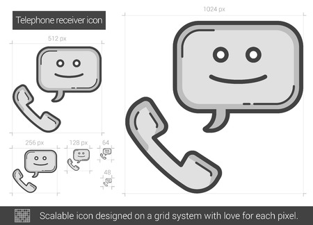 receiver: Telephone receiver vector line icon isolated on white background. Telephone receiver line icon for infographic, website or app. Scalable icon designed on a grid system. Illustration