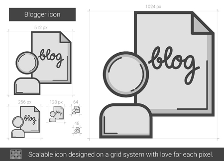 blogger: Blogger vector line icon isolated on white background. Blogger line icon for infographic, website or app. Scalable icon designed on a grid system.
