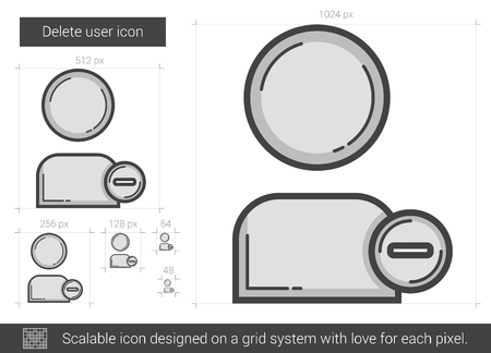 companionship: Delete user vector line icon isolated on white background. Delete user line icon for infographic, website or app. Scalable icon designed on a grid system.