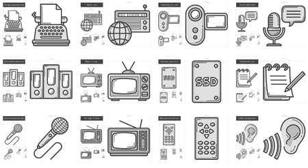 Journalism vector line icon set isolated on white background. Journalism line icon set for infographic, website or app. Scalable icon designed on a grid system.