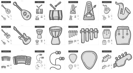 earpieces: Music vector line icon set isolated on white background. Music line icon set for infographic, website or app. Scalable icon designed on a grid system.