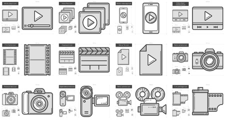 scalable set: Media vector line icon set isolated on white background. Media line icon set for infographic, website or app. Scalable icon designed on a grid system. Illustration