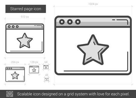 Starred page vector line icon isolated on white background. Starred page line icon for infographic, website or app. Scalable icon designed on a grid system. Illustration