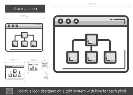 site map: Site map vector line icon isolated on white background. Site map line icon for infographic, website or app. Scalable icon designed on a grid system.