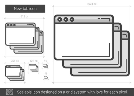 tab: New tab vector line icon isolated on white background. New tab line icon for infographic, website or app. Scalable icon designed on a grid system.