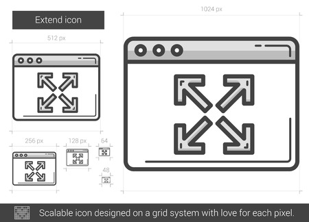 Extend vector line icon isolated on white background. Extend line icon for infographic, website or app. Scalable icon designed on a grid system. Ilustração