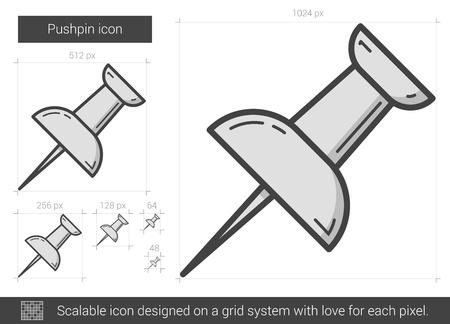 tack: Pushpin vector line icon isolated on white background. Pushpin line icon for infographic, website or app. Scalable icon designed on a grid system. Illustration