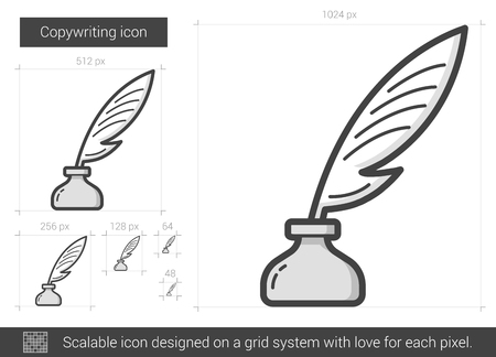inkpot: Copywriting vector line icon isolated on white background. Copywriting line icon for infographic, website or app. Scalable icon designed on a grid system.