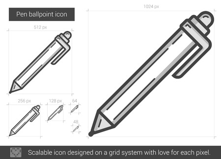 ballpoint: Pen ballpoint vector line icon isolated on white background. Pen ballpoint line icon for infographic, website or app. Scalable icon designed on a grid system. Illustration